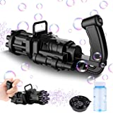 FiGoal Gatling Bubble Machine for Kids Bubble Gun (Black) 8-Hole Automatic Bubble Maker Machine Bubble Blaster Gun Toy Electr