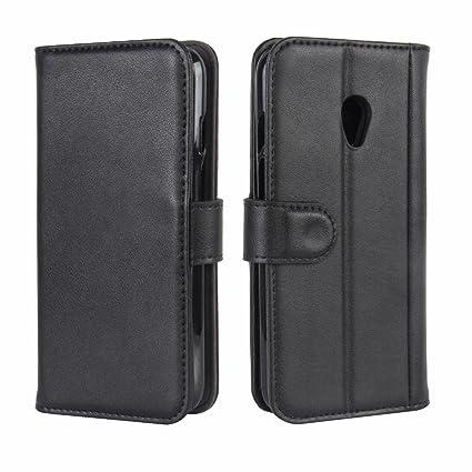Vodafone Smart Turbo 7 Case, DISLAND Folio Flip Premium Genuine Leather Kickstand Wallet Phone Case