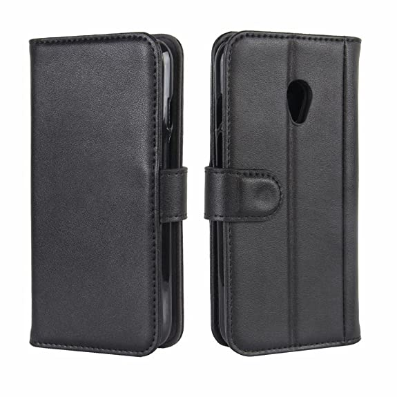 Vodafone Smart Turbo 7 Case, DISLAND Folio Flip Premium Genuine Leather Kickstand Wallet Phone Case