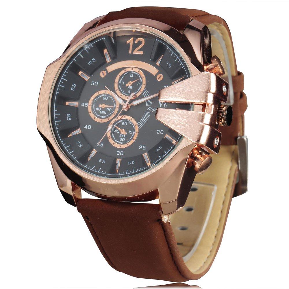v6ロゴファッションドレススタイル大きなダイヤルスポーツメンズクォーツ腕時計PUレザーバンド腕時計 3# B071FZNVMW 3# 3#