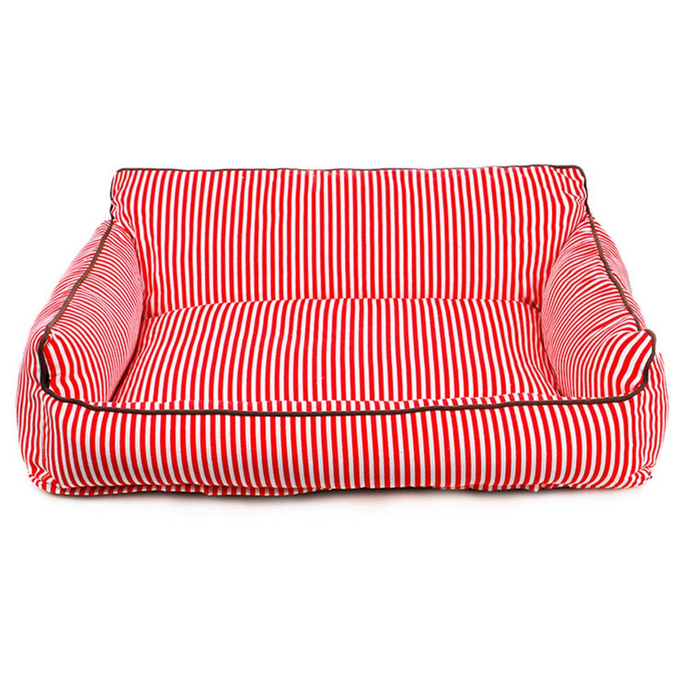 M Mzdpp Red Striped Washable Sofa Warm And Comfortable Cat And Dog Pet Bed 3 Size Large Medium And Small M