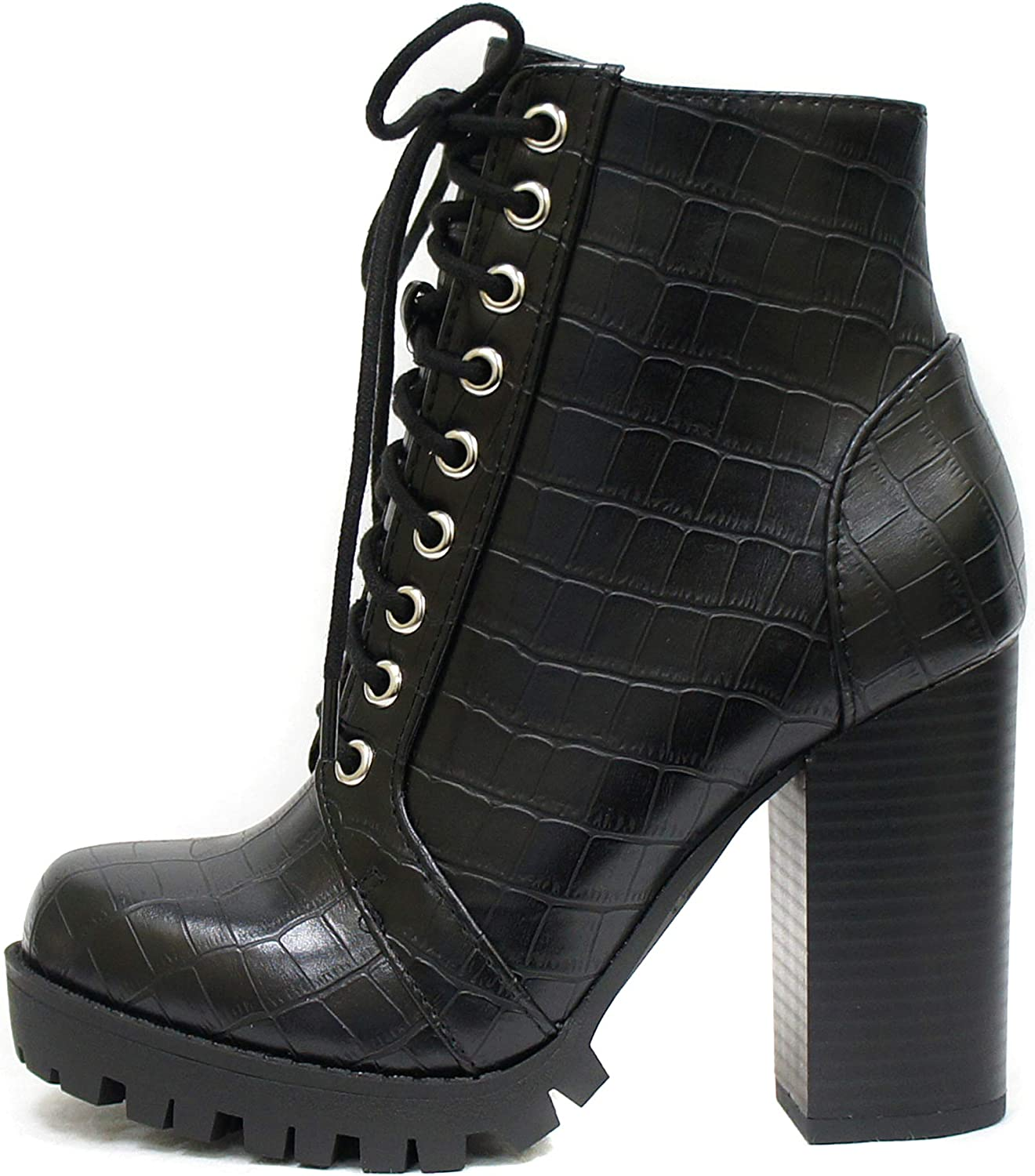 Soda Chalet – Fashion Lace up Military Inspired Ankle Boot with Stacked Heel and Side Zipper