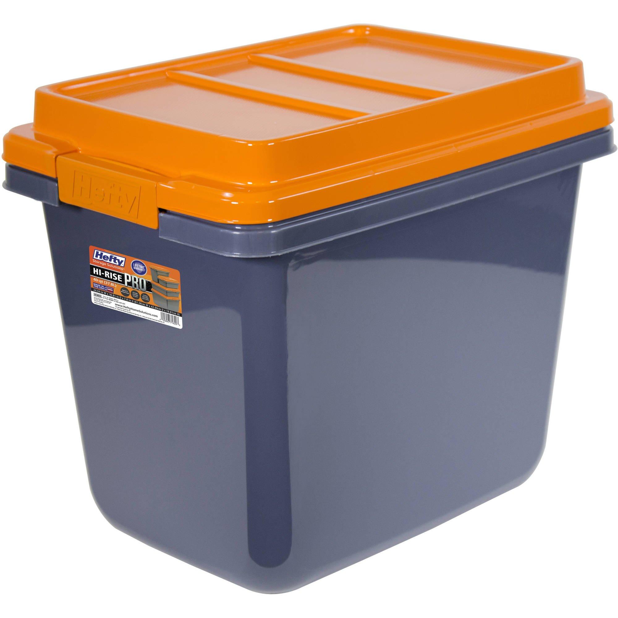 Hefty* Ultra-Strength HI-RISE Heavy Duty Storage Bins, 32 Qt. (9.3 Gal) Latch Storage Box, Orange/Gray by Hefty SET OF 3