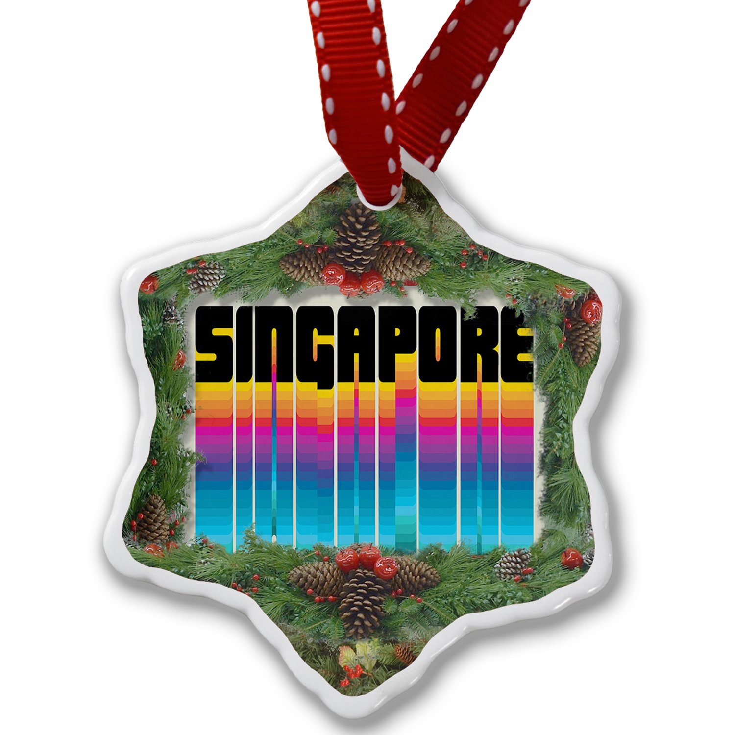 Christmas Ornament Retro Cites States Countries Singapore - Neonblond