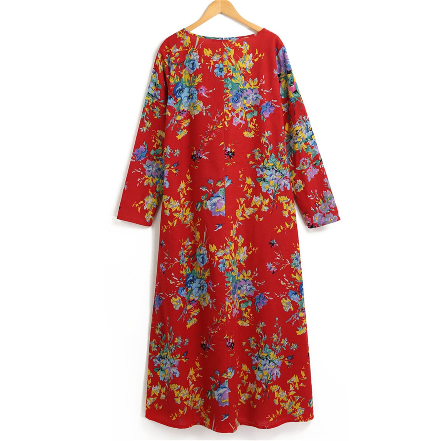 6f303e6bd6 Chiffoned Women Spring Dresses Plus Size Cotton Linen Maxi Dress Vintage  Loose Floral Print Beach Robe Dress at Amazon Women s Clothing store