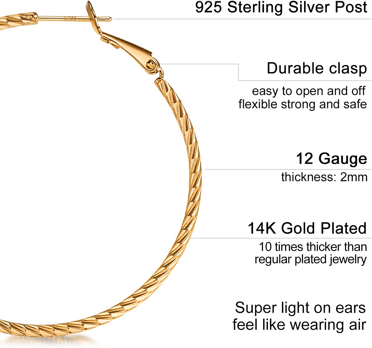 Rose Gold Free Drops Gold Filled X-LARGE SWIRL HOOPS Hammered Interchangeable Earrings for charms Sterling Silver