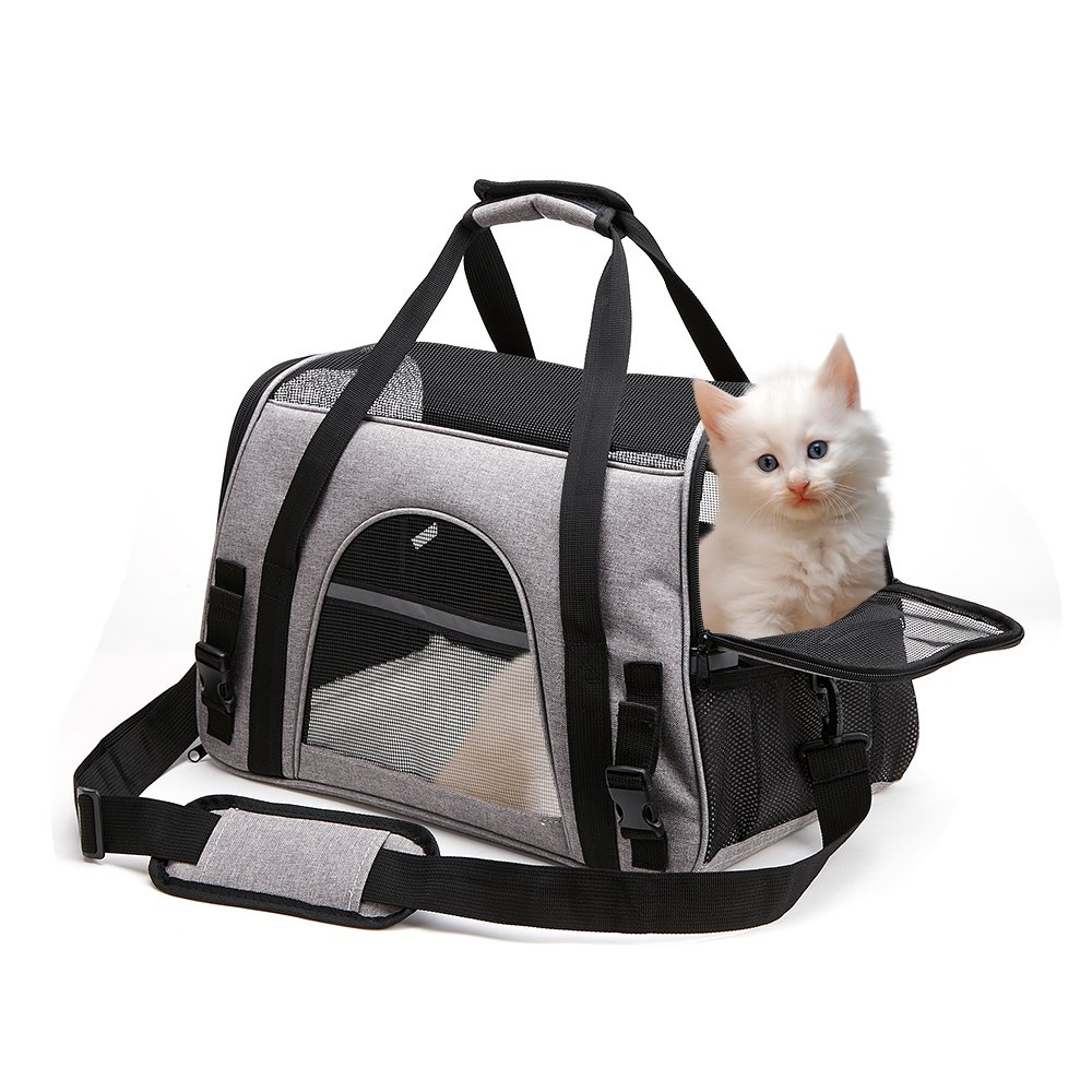 OHICO Cat Carrier Small Airline Approved Soft Sided Pet Travel Light Carrier for Kitten, Puppy, Small Cats, Small Dogs, Small Animals