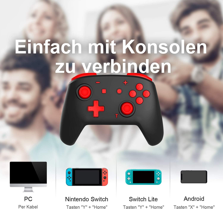 momen Mando Inalámbrico para Nintendo Switch Wireless Bluetooth Pro Switch Mando con Dos Motores/ Función Turbo/Vibración Ajustable/Giroscopio para Nintendo Switch/Lite: Amazon.es: Electrónica