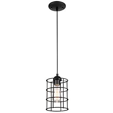 Westinghouse Lighting 6100600 Industrial One-Light Adjustable Mini Pendant with Metal Cage Shade, Oil Rubbed Bronze Finish