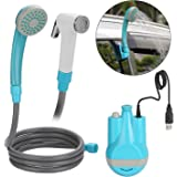 WADEO Camping Shower, Portable Handhold Outdoor Shower USB Rechargeable Batteries Outdoor Shower Head Shower Pump 1.8m…