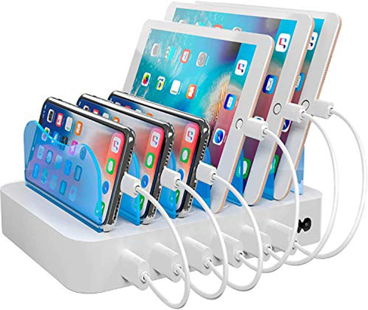 Hercules Tuff Charging Station with 6 USB Fast Ports and 6 Short USB Cables