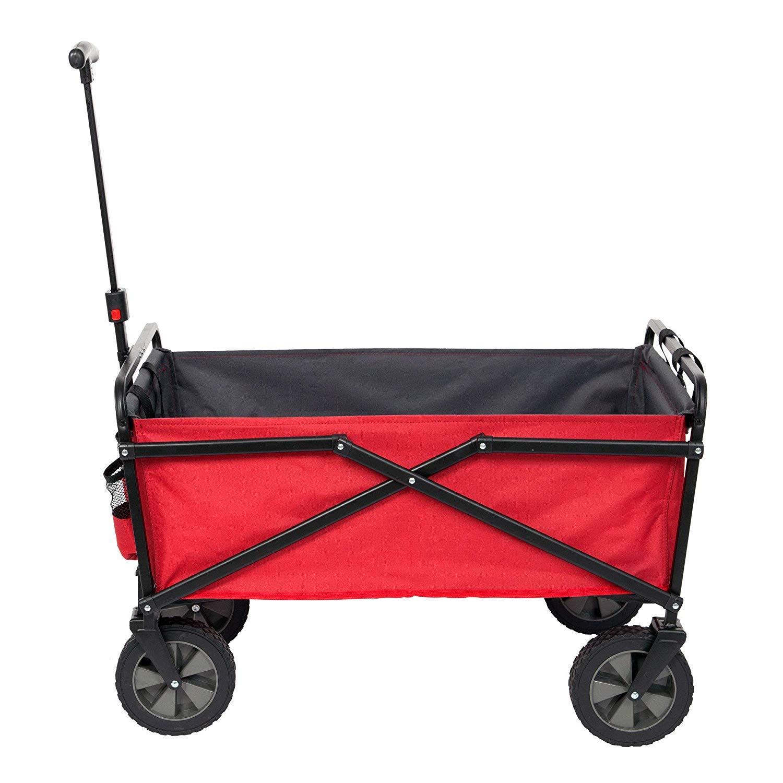 SEINA 150 Pound Capacity Portable Folding Steel Wagon Outdoor Garden Cart, Red by Seina