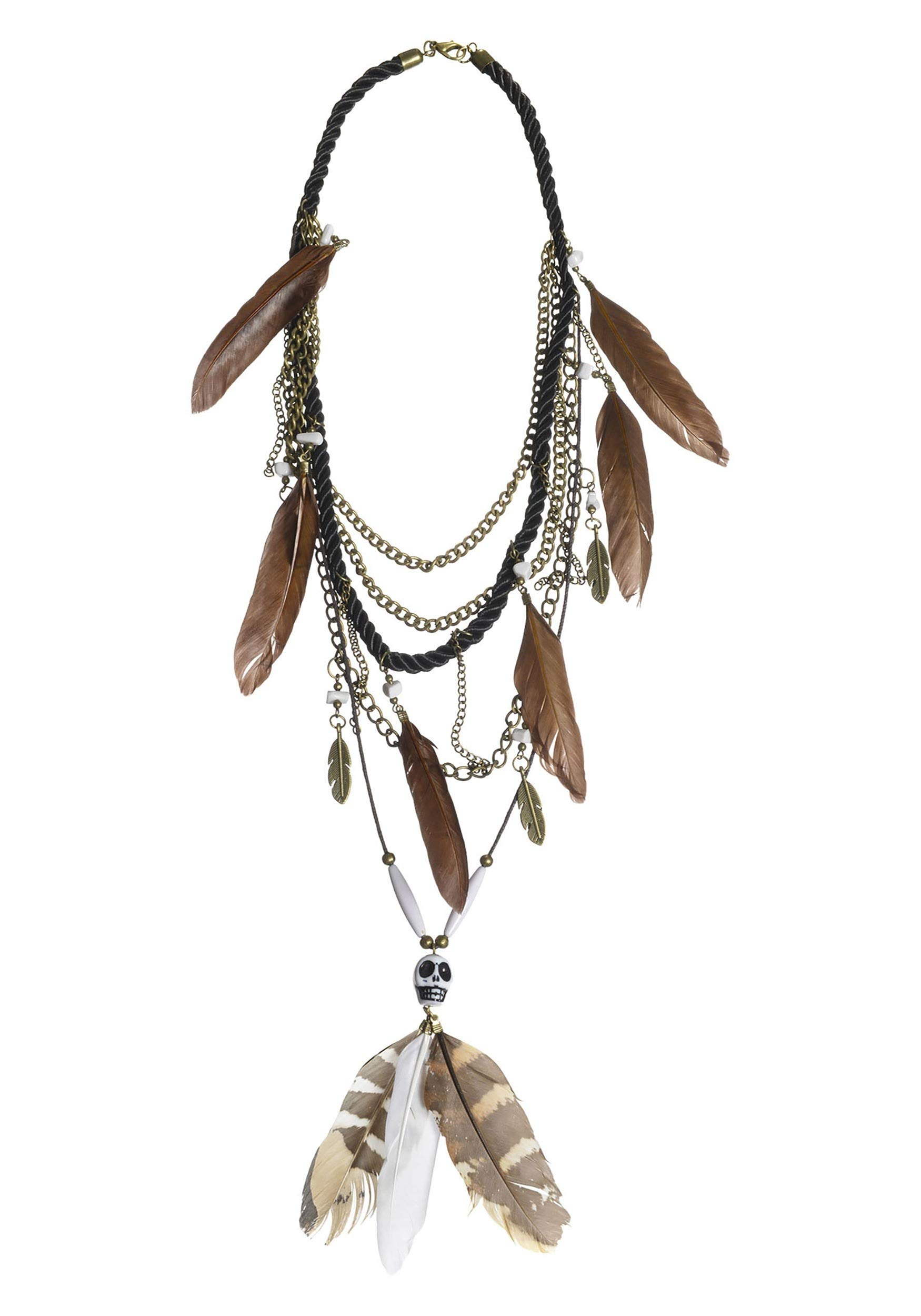 Suit Yourself Witch Doctor Multi-Strand Necklace for Adults, Made of Plastic and Feathers, Measures 25 Inches Long by amscan