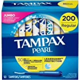 Tampax Pearl Tampons with Plastic Applicator, Regular Absorbency, 200 Count, Unscented (50 Count, Pack of 4 - 200 Count…