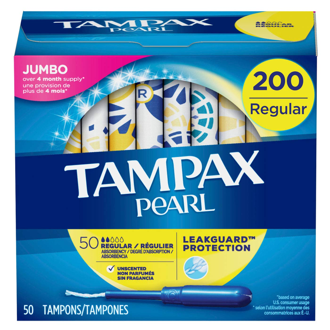 Tampax Pearl Tampons with Plastic Applicator, Regular Absorbency, Unscented, 50 Count-Pack of 4 (200 Count Total) ( packaging may vary) by Tampax