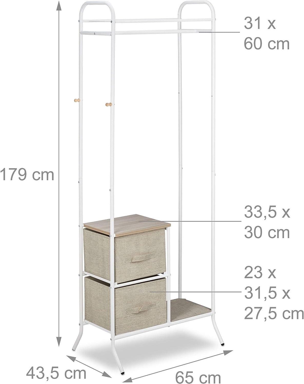 Bianco Attaccapanni Relaxdays Appendiabiti da Terra con Box Pieghevoli in Stoffa Acciaio HxLxP: 179x65x43,5 cm
