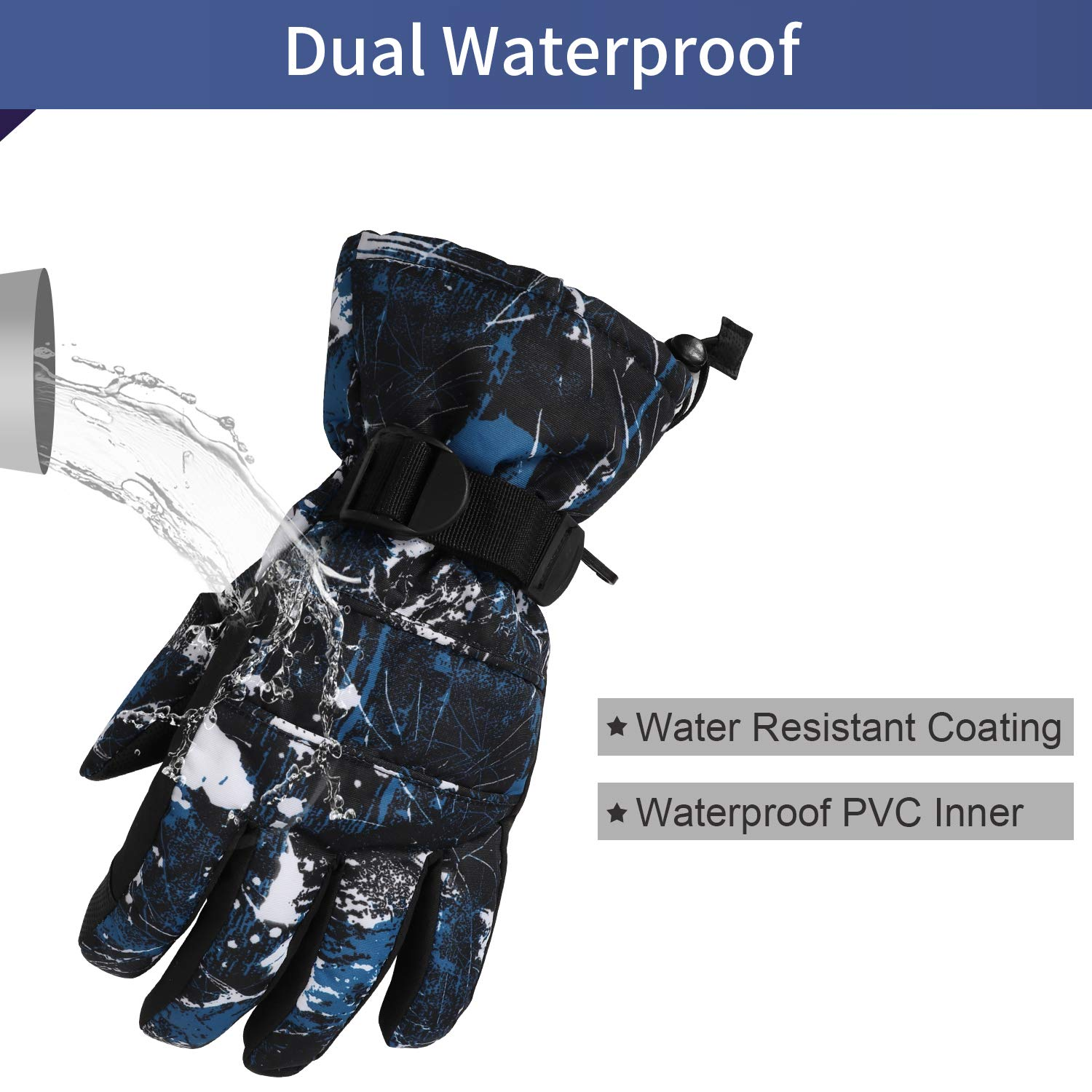 Ski Gloves Men Women Waterproof Anti Slip Cold Weather Winter Gloves Snow Gloves with Touch Screen for Skiing Hiking Fishing Cycling Outdoor Activities