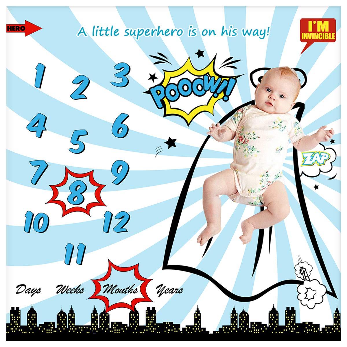Amazon.com: Baby Monthly Milestone Blanket for Newborn Boy ...