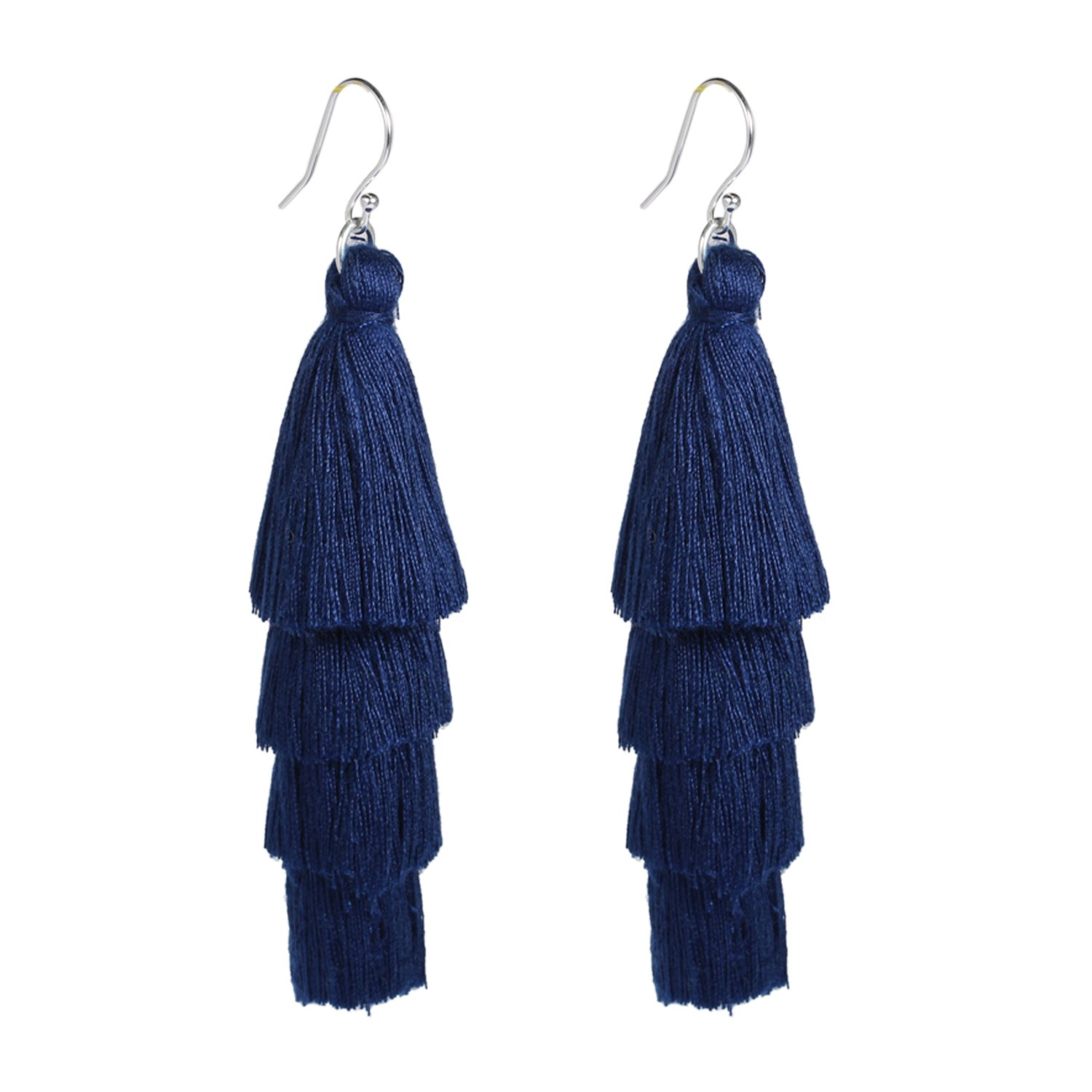 Bonnie 4 Tiered Thread Solid Fringe Layered Tassels Earring for Women Girls (Navy)