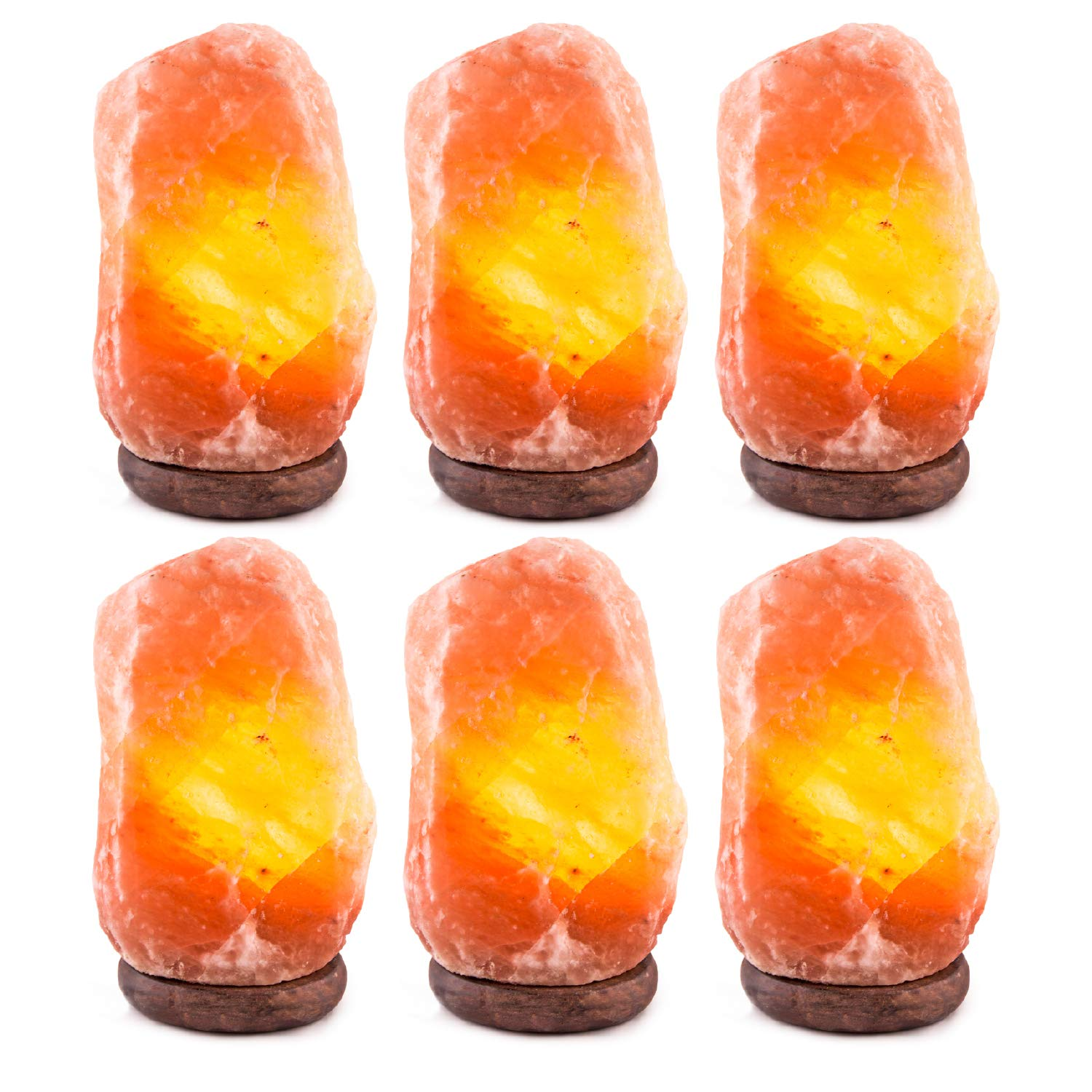 INVITING HOMES 6-7 lbs, 6 to 8 inch Himalayan Natural Salt Lamp On Wooden Base with Bulb and Cord - Pack of 6
