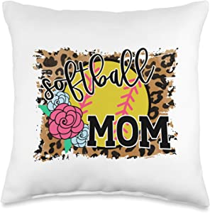 Softball Mom Gifts EC Softball Mom Cute for Her Mother's Day Fall Ball Throw Pillow, 16x16, Multicolor