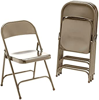 Virco 16213K Metal Folding Chairs, Bronze, Four/carton