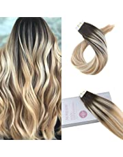 Moresoo 16 Inch Tape in Hair Extensions Human Hair Real Human Hair Tape in Darkest Brown to Camarel Blonde Mixed with Bleach Blonde 20pcs\50g Per Pack Remy Hair Extensions Tape in Skin Weft