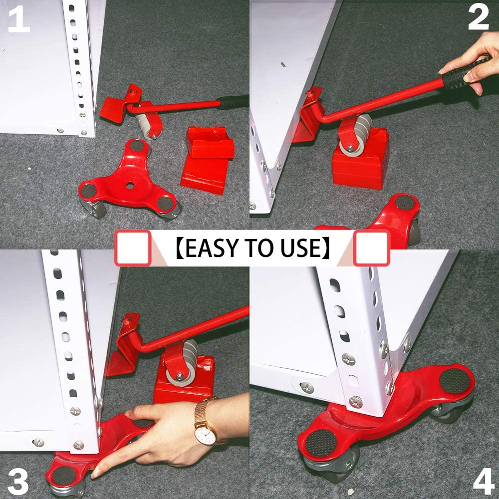 Furniture Mover /& Lifter Kit Easy Moving System for Bulky /& Heavy Loads in Home 6-Inch Steel Tri-Dolly with Caster 5 Pack 660-lb Load Capacity Shop or Garage 3 Wheel Furniture Movers/Dolly