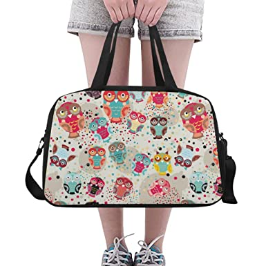 InterestPrint Sugar Skull owls Duffel Bag Travel Tote Bag Handbag Luggage 93aaa243b93