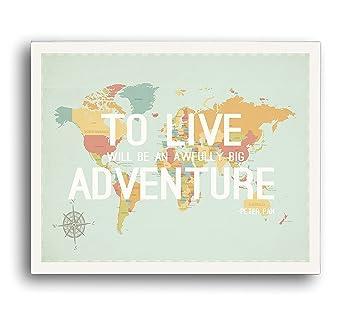 Amazon Com To Live World Map Wall Art Print 18x24 Inch Print Home