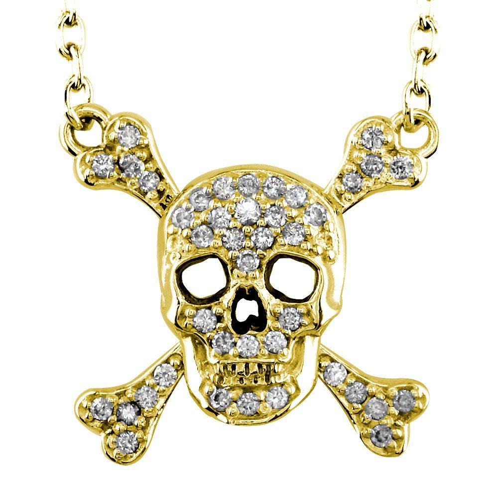 Men's Large Jolly Roger Skull and Crossbones Diamond 14K Yellow Gold Pendant - DeluxeAdultCostumes.com