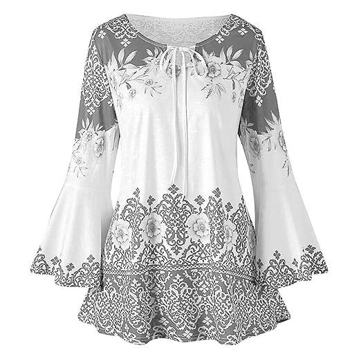 c45cf6c11b1 Womens Shirts Plus Size Floral Print Blouse Tops, 3/4 Bell Sleeves Vintage  Tunic Drawstring S-5XL