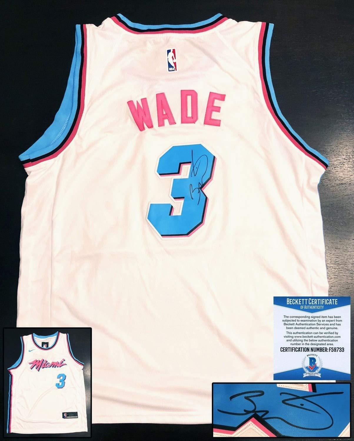 wholesale dealer feba5 44e42 Miami Heat Dwyane Wade Autographed Signed Miami Vice Jersey ...