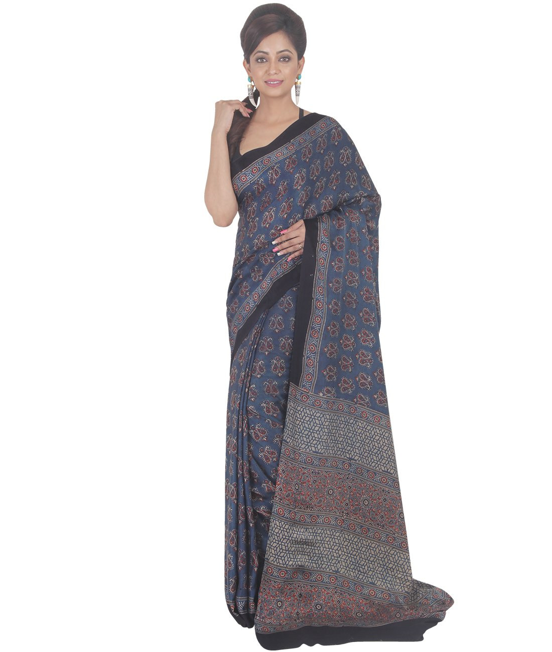 Indian Ethnic Crepe Navy Blue Printed Saree