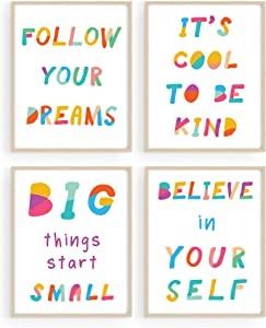 """Wall Quotes for Kids Playroom Decor - by Haus&Hues   Set of 4 Kids Motivational Posters & Kids Inspirational Wall Art   Kids Bathroom Wall Decor Childrens Room Decor   Unframed, 8"""" x 10"""""""