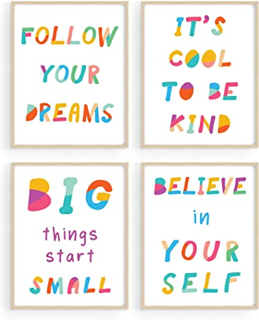 Amazon Com Wall Quotes For Kids Playroom Decor By Haus Hues Set Of 4 Kids Motivational Posters Kids Inspirational Wall Art Kids Bathroom Wall Decor Childrens Room Decor Unframed