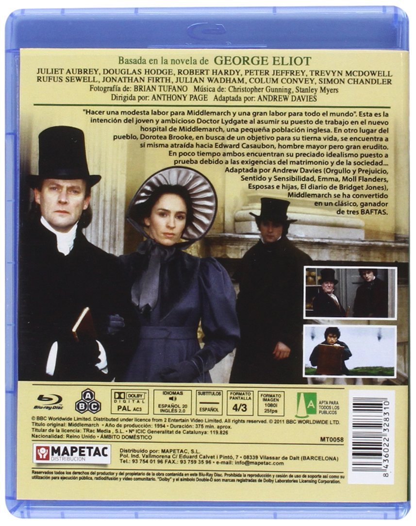 Middlemarch [Blu-ray]: Amazon.es: Juliet Aubrey, Douglas Hodge, Robert Hardy, Peter Jeffrey, Trevyn McDowell, Rufus Sewell, Anthony Page: Cine y Series TV