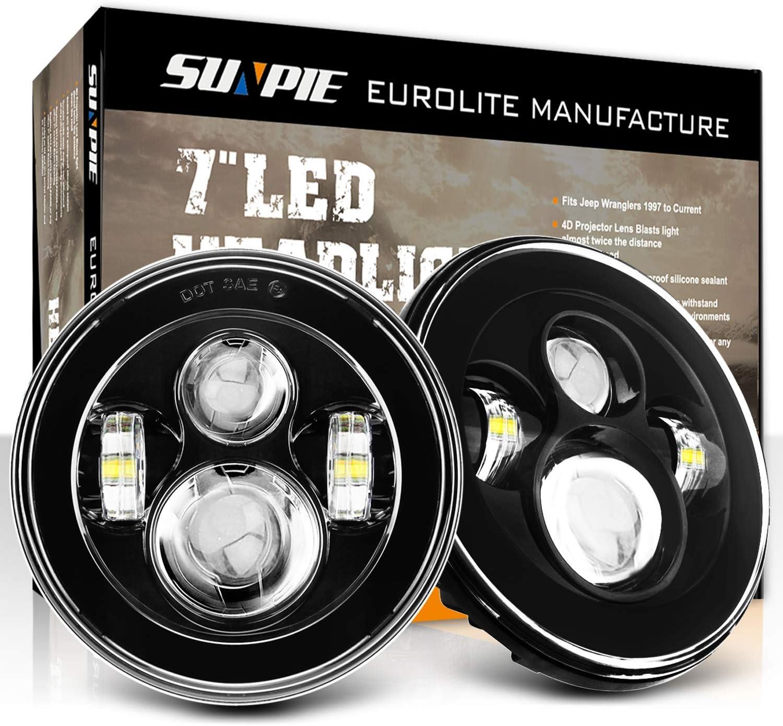 7 Inch Round LED Headlights High Low Beam for Jeep Wrangler JK TJ LJ CJ Rubicon Sahara Hummer H1 H2