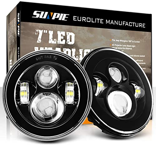 SUNPIE 7 inch Round CREE LED Headlights (BUILT IN LED CANBUS) for Jeep Wrangler JK LJ CJ Rubicon Sahara Willys Hummer H1 H2