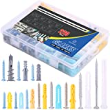 Glarks 220-Pieces Plastic Self Drilling Drywall Ribbed Anchors Hollow-Wall Anchor with Screws Assortment Kit for Drywall…