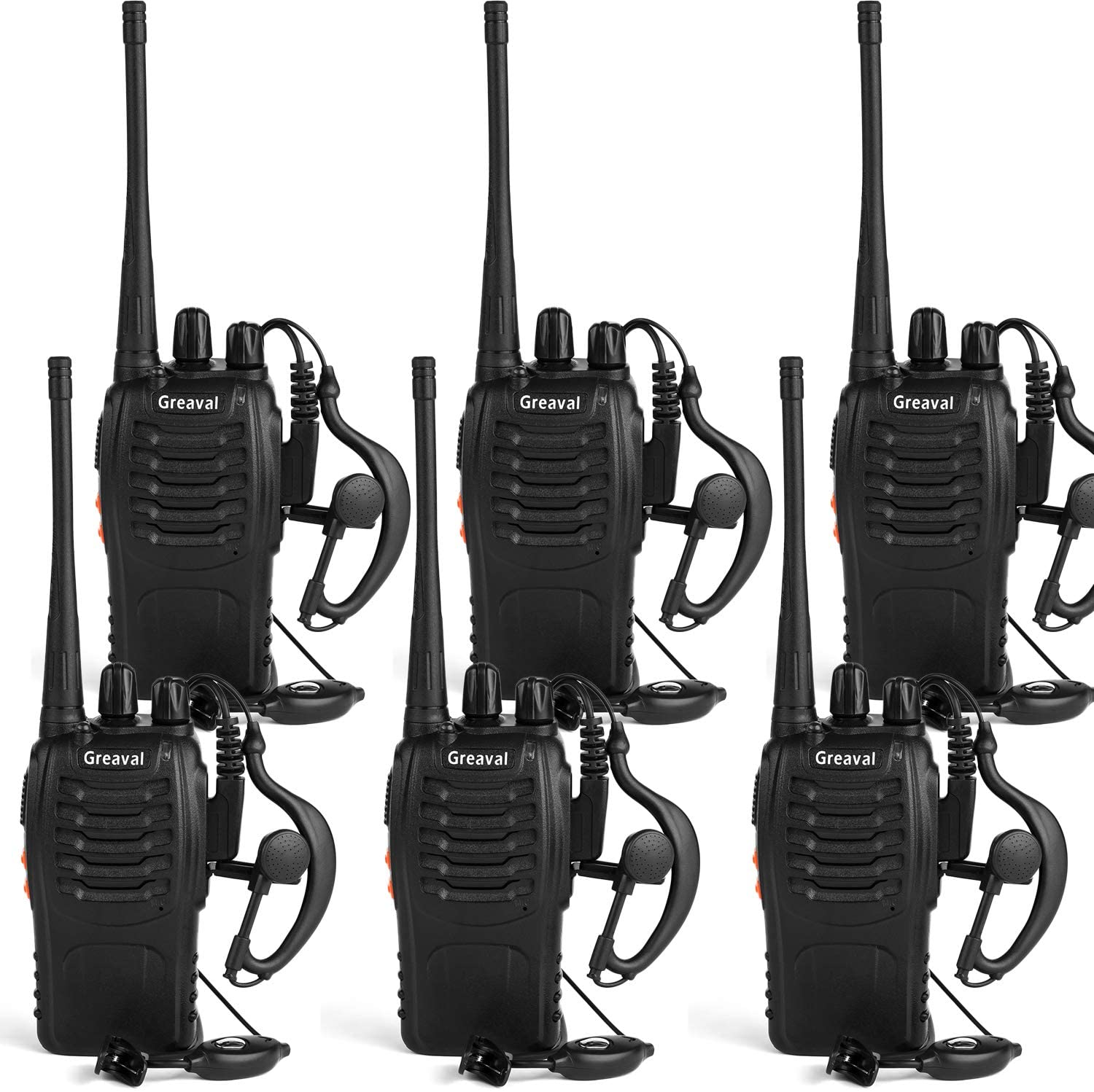 Greaval Long Range Walkie Talkies Rechargeable Two-Way Radios with Earpiece 16-Channel UHF 400-470MHz (Pack of 6)