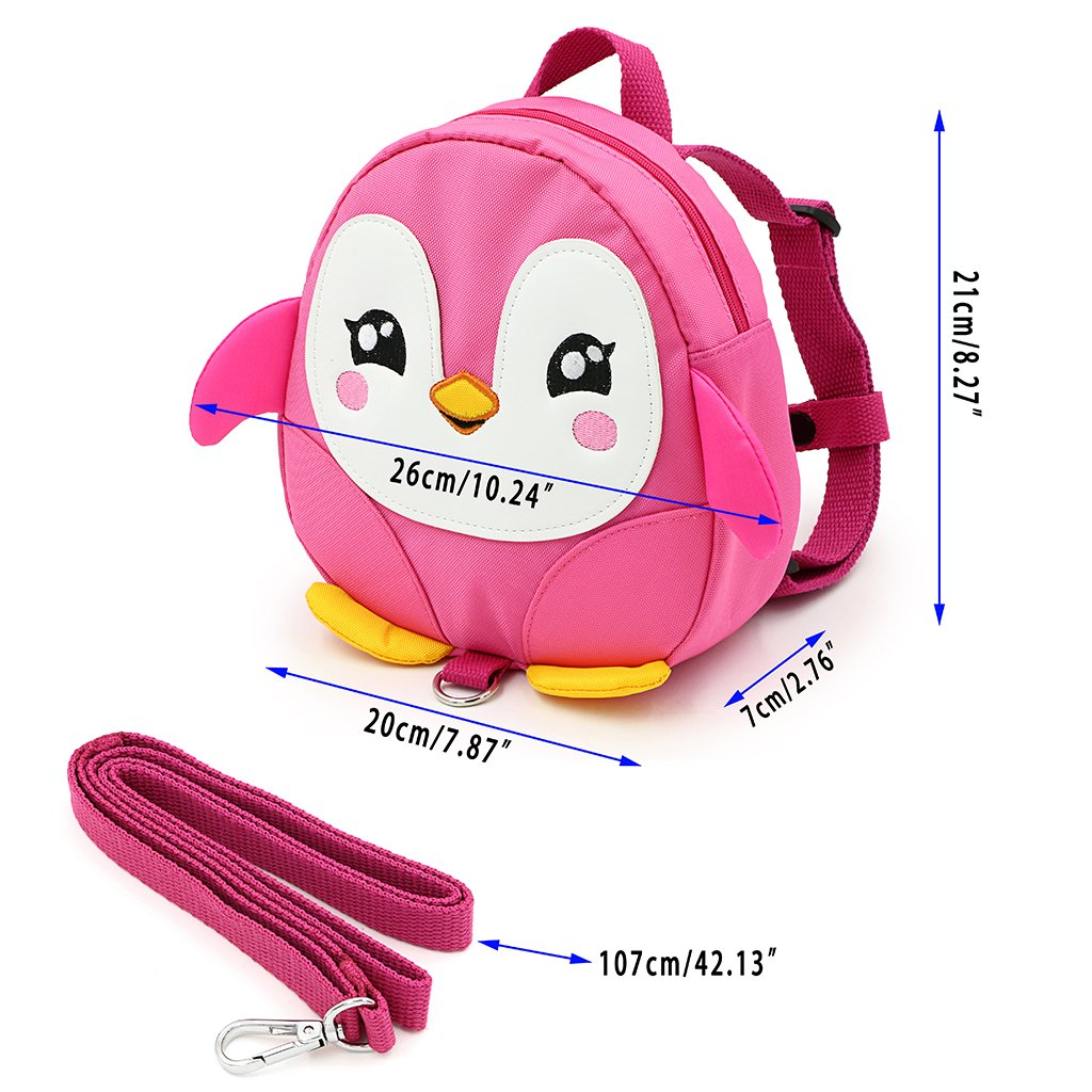 Hipiwe Baby Toddler Walking Safety Backpack Little Kid Boys Girls Anti-lost Travel Bag Harness Reins Cute Cartoon Penguin Mini Backpacks with Safety Leash for Baby 1-3 Years Old /(Black/)