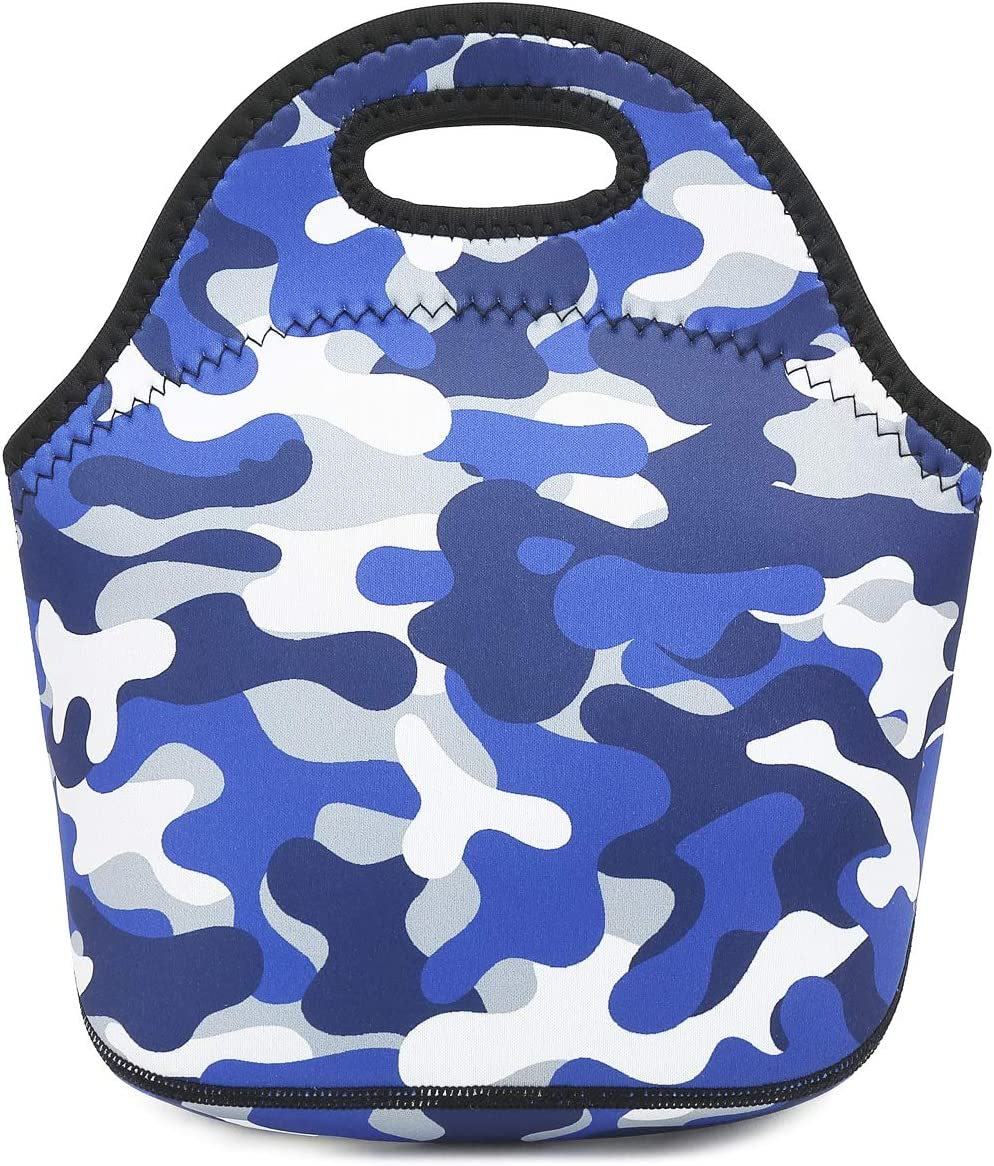 Neoprene kids Lunch box Insulated Soft Bag Mini Cooler Thermal Meal Tote Kit for Boys, Girls,Men,Women,School,Work, Office by FlowFly,Blue Camo