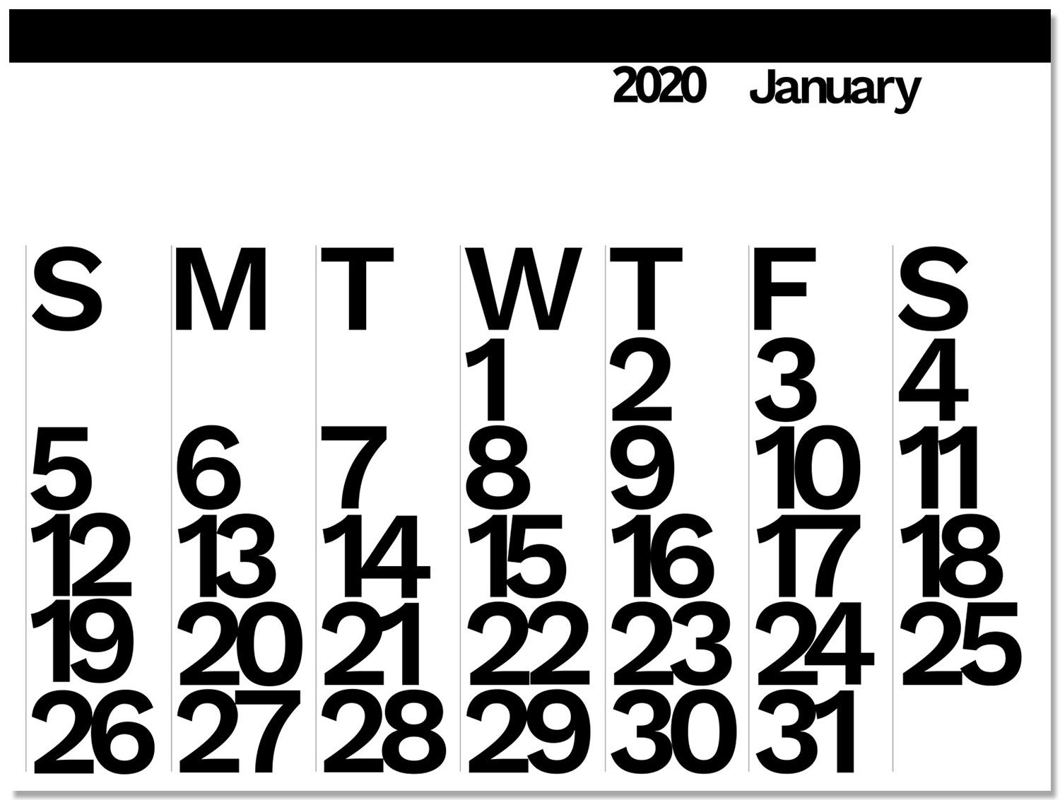 2020 The Wall Calendar by Unknown
