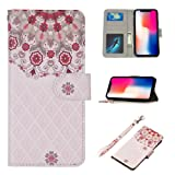 UrSpeedtekLive iPhone X Case, iPhone X Wallet Case, Premium PU Leather Wristlet Flip Case Cover with Card Slots & Stand for Apple iPhone X, Floral