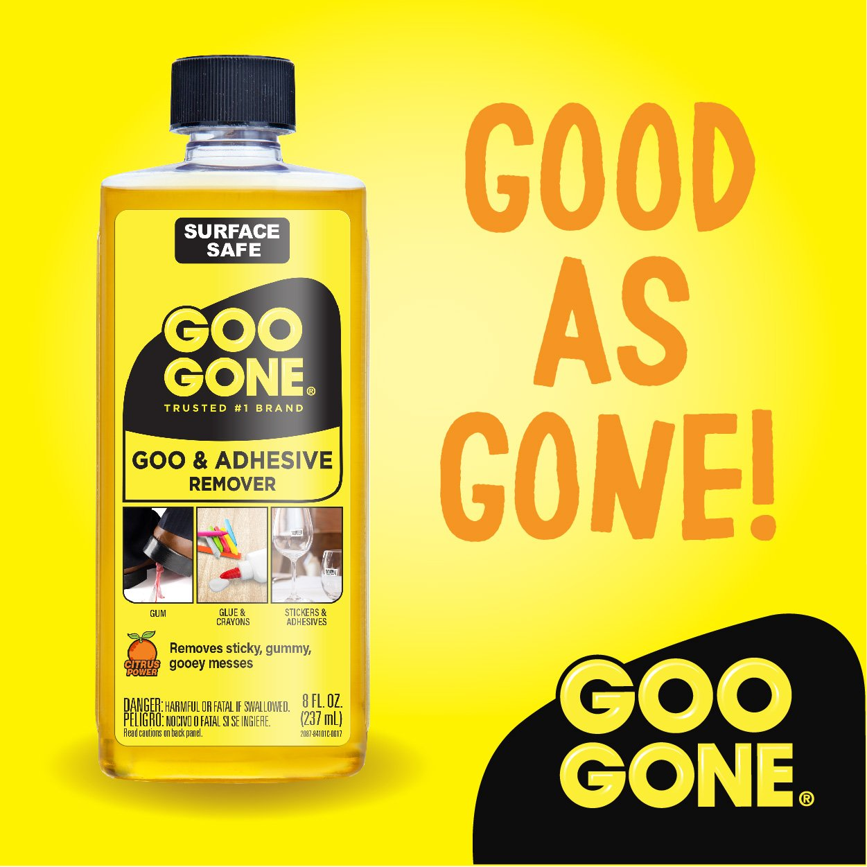 Amazon.com: Goo Gone Original Liquid - Surface Safe Adhesive Remover –  Safely removes Stickers, Labels, Decals, Residue, Tape, Chewing Gum,  Grease, ...