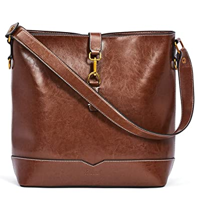 c5d7508f02 Amazon.com  Handbags for Women Oil Wax Leather Purses Designer Bucket Tote  Vintage Ladies Top Handle Fashion Shoulder Bag Brown  Shoes