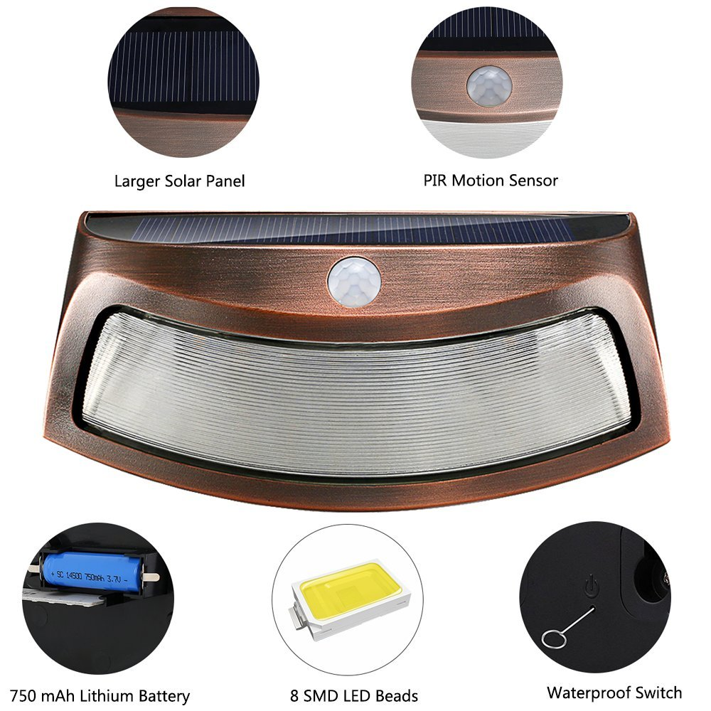 Solar Deck Lights, Outdoor Garden Security Light with PIR Motion Sensor Waterproof Pathway Lamps for Stairs Patio Wall (Cool White, 2 Pack)