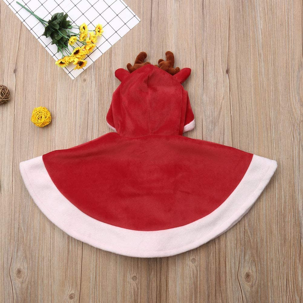 Miwear Xmas Outfits Toddler Baby Girl Reindeer Hooded Cape Cloak Coat Outwear