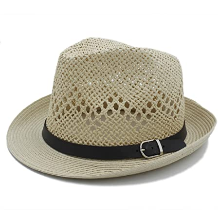 e530a587 Sunny&Baby Women Men Summer Beach Sun Hat For Ladies/Gentlemen Raffia Straw  Boater Fedora Hats